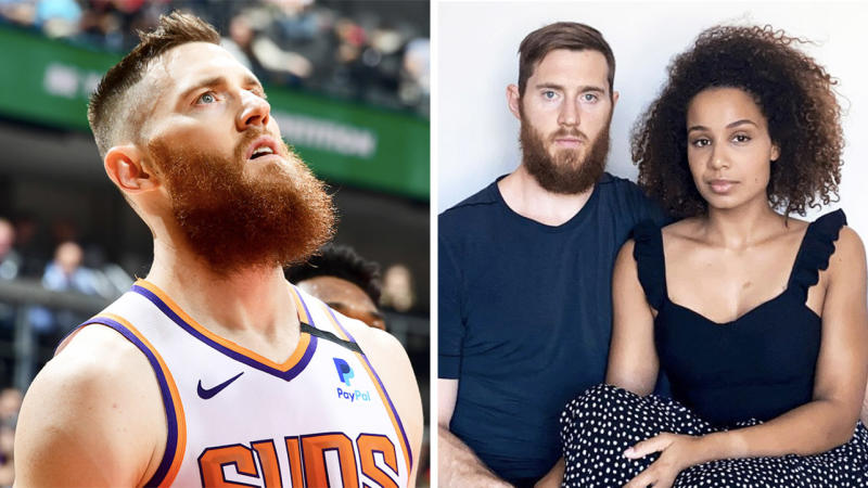 Aron Baynes (pictured right next to his wife) has penned an emotional letter about the importance of education and in the battle against racism. (Getty Images/Instagram)