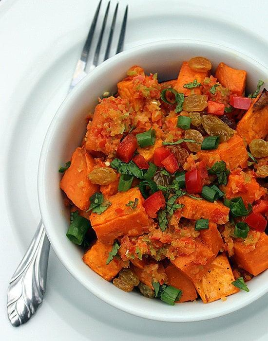 """<p>Pair this sweet potato salad with a protein like grilled chicken, tofu, or black beans for a satisfying lunch.</p> <p><strong>Get the recipe:</strong> <a href=""""https://www.popsugar.com/fitness/Healthy-Sweet-Potato-Salad-Recipe-31874999"""" class=""""link rapid-noclick-resp"""" rel=""""nofollow noopener"""" target=""""_blank"""" data-ylk=""""slk:spicy sweet potato salad"""">spicy sweet potato salad</a></p>"""