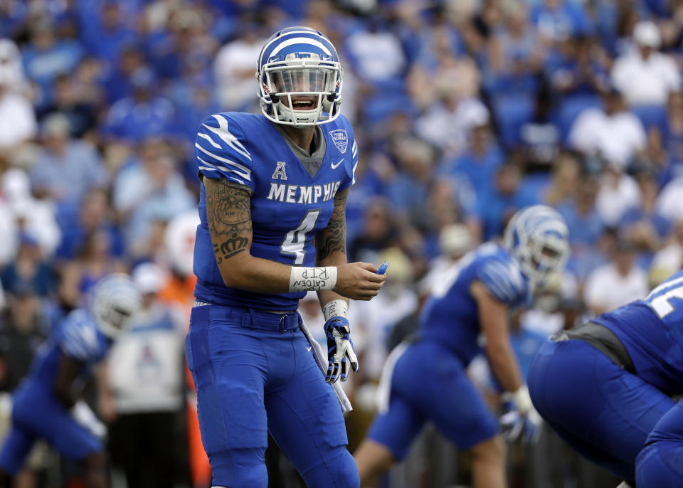 Riley Ferguson calls a play against UCLA in the first half of an NCAA college football game Saturday, Sept. 16, 2017, in Memphis, Tenn. (AP Photo/Mark Humphrey)