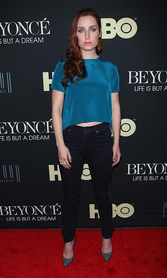 "Zoe Lister-Jones attends the ""Beyonce: Life Is But A Dream"" New York Premiere at Ziegfeld Theater on February 12, 2013 in New York City."
