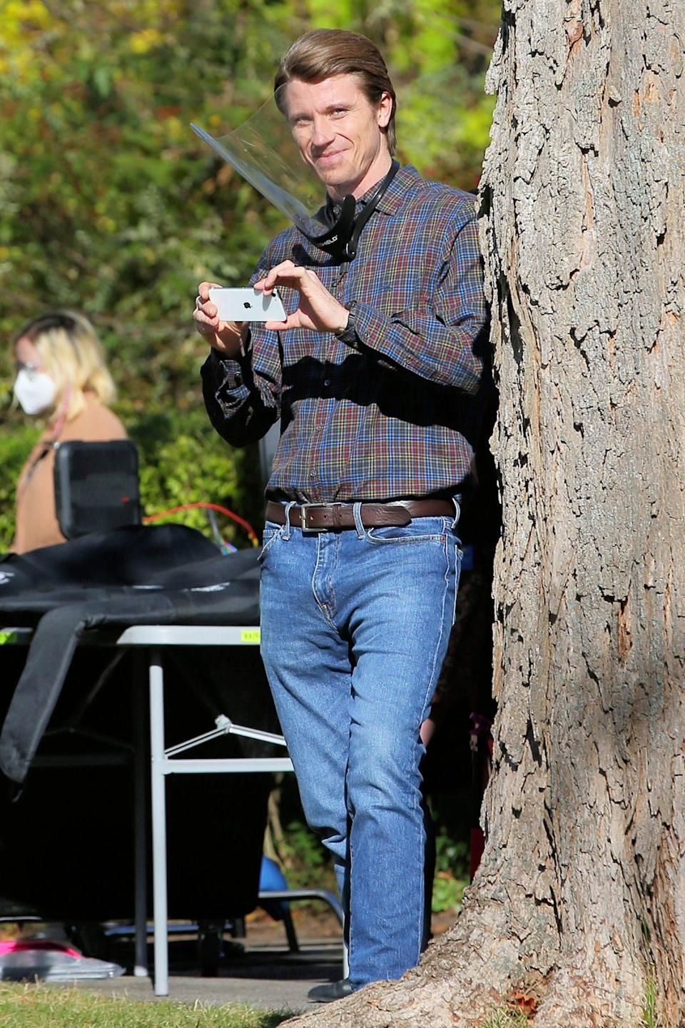 <p>Dad-to-be Garrett Hedlund films <em>Modern Love </em>in Schenectady, New York on Thursday. </p>