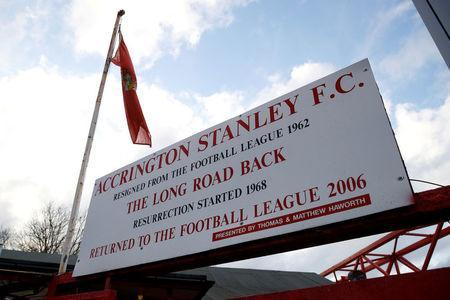 FILE PHOTO: A sign is seen at the entrance of Accrington Stanley's Wham Stadium, Accrington, Britain - April 17, 2018. Action Images/Carl Recine/File Photo
