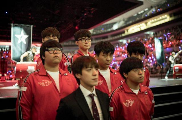 SK Telecom T1 at the 2016 MSI opening ceremony (Riot Games/lolesports)