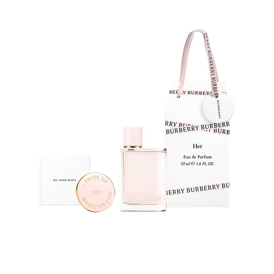 """Burberry's Her Eau de Parfum Set oozes romance with its pretty pale pink packaging. Meanwhile, the fragrance itself is fun, fruity, and floral. It includes some subtle notes of berries (blueberries, raspberries, and currants) – coupled with hints of jasmine, violet, musk, and dry amber. Score one travel-size fragrance bottle, a pin, plus a cute gift bag to house them all with this three-piece set. $94, Nordstrom. <a href=""""https://www.nordstrom.com/s/burberry-her-eau-de-parfum-set-94-value/5956580"""" rel=""""nofollow noopener"""" target=""""_blank"""" data-ylk=""""slk:Get it now!"""" class=""""link rapid-noclick-resp"""">Get it now!</a>"""