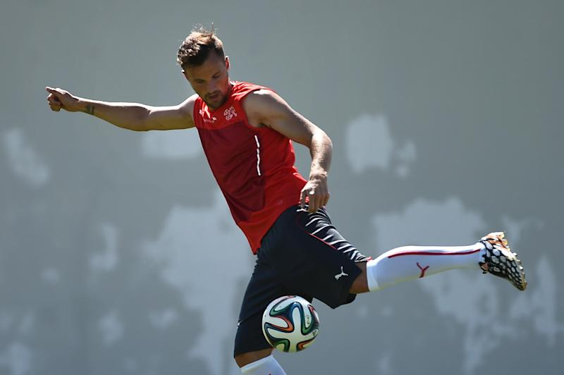 Switzerland's forward Haris Seferovic takes part in a training session at the Municipal Stadium in Porto Seguro during the 2014 FIFA World Cup tournament in Brazil on June 16, 2014