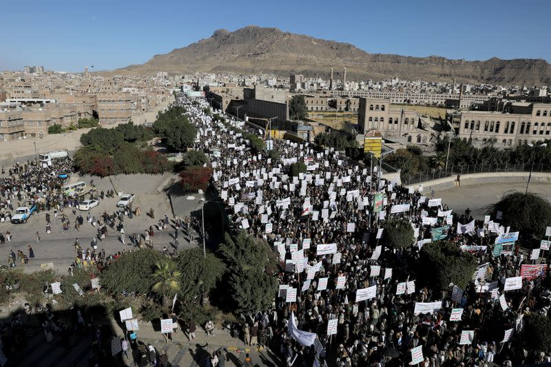 Houthi supporters rally against the designation of Houthis as a foreign terrorist organisation made by the United States, in Sanaa