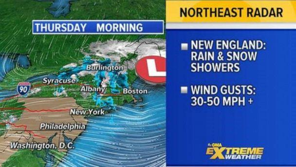 PHOTO: The first storm that we have been tracking that moved from the Plains to the East Coast Tuesday and Wednesday it now moving off the New England coast and will be clearing out soon. (ABC News)