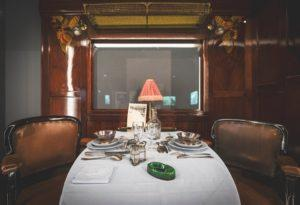A dining table in the dining car. Photo: Orient Express