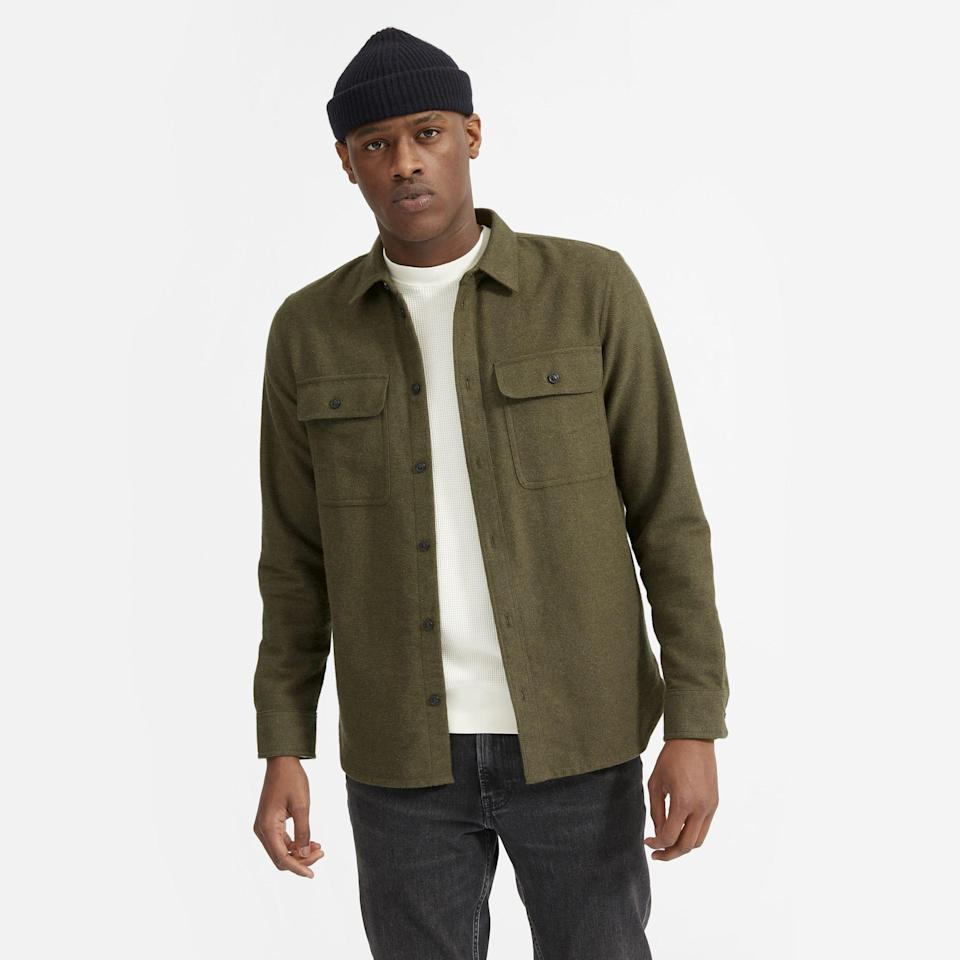 """His closet can never have too many fitted overskirts. We like the structure of this cotton twill version from Everlane. <br><br><strong>Everlane</strong> The Heavyweight Overshirt, $, available at <a href=""""https://go.skimresources.com/?id=30283X879131&url=https%3A%2F%2Fwww.everlane.com%2Fproducts%2Fmens-heavyweight-overshirt-greenheather%3Fcollection%3Dmens-gift-shop"""" rel=""""nofollow noopener"""" target=""""_blank"""" data-ylk=""""slk:Everlane"""" class=""""link rapid-noclick-resp"""">Everlane</a>"""