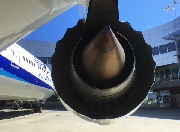 A Rolls-Royce engine is seen on a Boeing 787-9 Dreamliner owned by ANA Holdings Inc. in Everett, Washington, U.S. August 17, 2016. REUTERS/Alwyn Scott/File Photo - S1BEUDVRNOAB