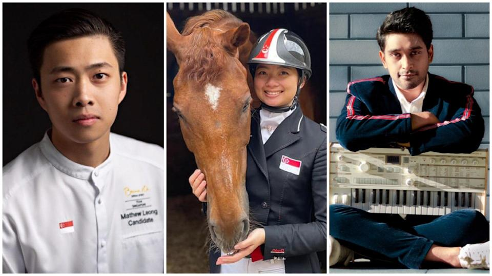 (From left) Chef Mathew Leong, equestrienne Caroline Chew and musician Shabir are flying the Singapore flag high in Norway, the United Kingdom and India.