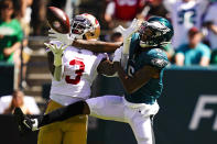 Philadelphia Eagles wide receiver DeVonta Smith (6) fails to catch a pass as San Francisco 49ers strong safety Jaquiski Tartt (3) defends during the first half of an NFL football game Sunday, Sept. 19, 2021, in Philadelphia. (AP Photo/Matt Slocum)