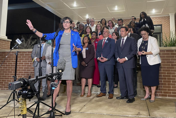FILE - In this May 31, 2021, file photo, Texas state Rep. Jessica Gonzalez speaks during a news conference in Austin, Texas, after House Democrats pulled off a dramatic, last-ditch walkout and blocked one of the most restrictive voting bills in the U.S. from passing before a midnight deadline. Democrats in the Texas Legislature were planning Monday, July 12, to leave the state in another revolt against a GOP overhaul of election laws. (AP Photo/Acacia Coronado, File)