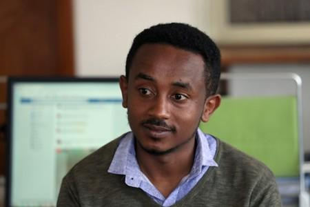 Eritrean refugee Berhane speaks during interview with Reuters in Addis Ababa
