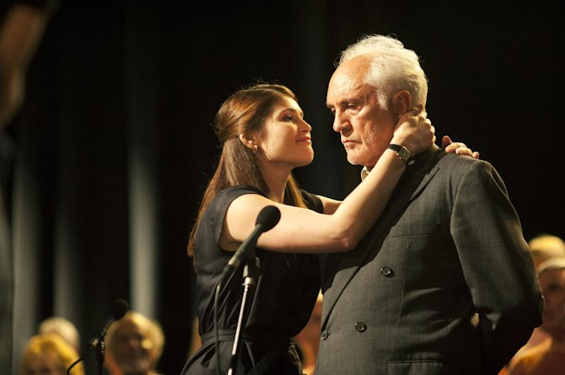"""FILE - This publicity photo released by The Weinstein Company shows Gemma Arterton, left, and Terence Stamp in a scene from the film, """"Unfinished Song."""" (AP Photo/The Weinstein Company, Nick Wall)"""
