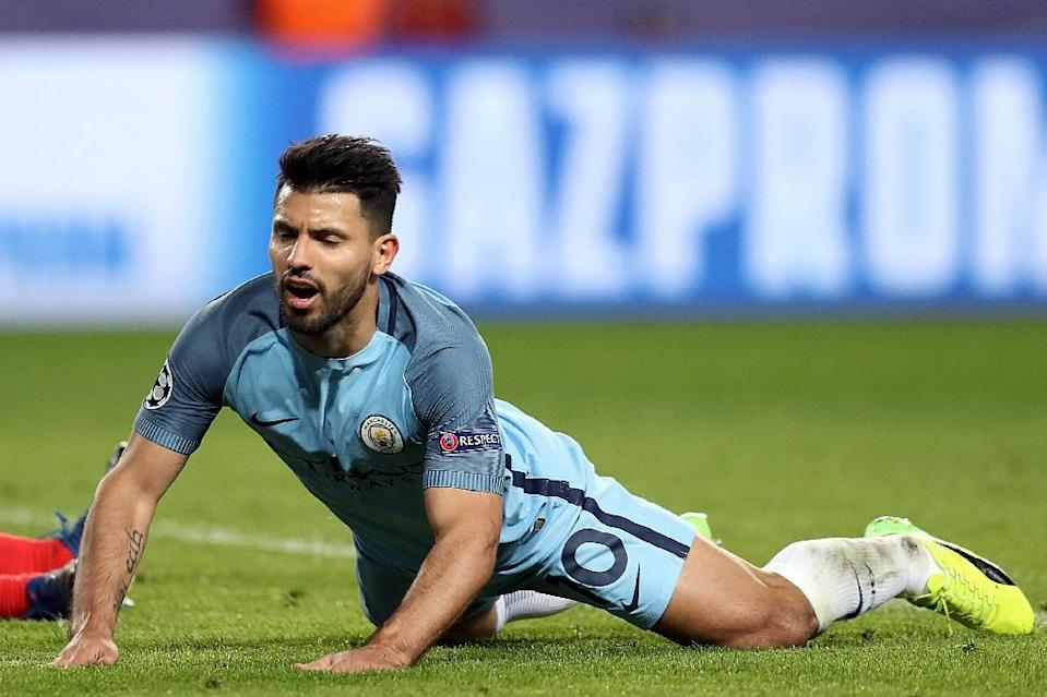 Manchester City's Sergio Aguero reacts to a missed goal opportunity during their UEFA Champions League match against Monaco, at the Stade Louis II in Monaco, on March 15, 2017 (AFP Photo/Valery Hache)