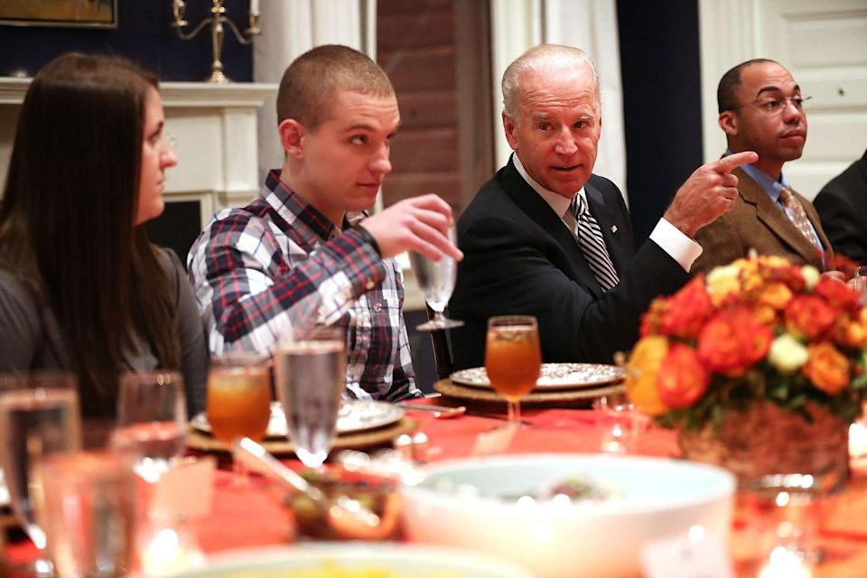 "<p>Following the withdrawal of troops from Iraq in 2011, then-Vice President Joseph Biden hosted wounded warriors for <a href=""https://www.goodhousekeeping.com/holidays/thanksgiving-ideas/g1918/thanksgiving-dinner-recipes/"" rel=""nofollow noopener"" target=""_blank"" data-ylk=""slk:Thanksgiving dinner"" class=""link rapid-noclick-resp"">Thanksgiving dinner</a> at his home in D.C., setting new standards for holiday hospitality. </p>"