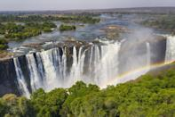 <p>These famous falls are located in southern Africa at the border of Zambia and Zimbabwe. Victoria Falls are considered the largest (not tallest or widest) in the world because when measured by width and height, they form the largest sheet of falling water. </p>