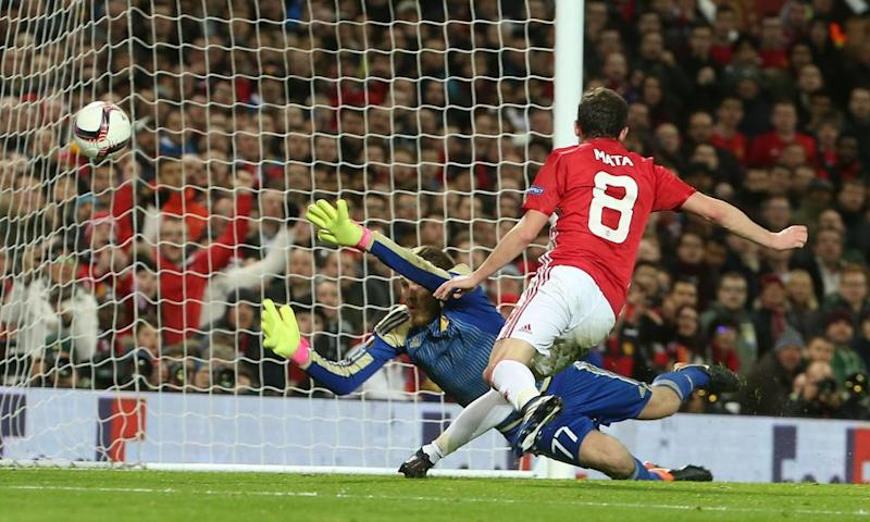 Juan Mata scores from close range for Manchester United against Rostov at Old Trafford on Thursday night.
