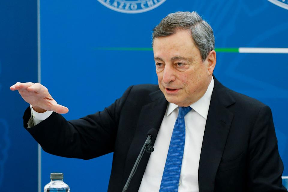 Italian Prime Minister, Mario Draghi gives a press conference on April 16, 2021 in Rome. - Italy's government has agreed to borrow another 40 billion euros ($48 billion) this year to help mitigate the economic effects of the coronavirus pandemic, a prime ministerial source said on April 15, 2021. (Photo by - / POOL / AFP) (Photo by -/POOL/AFP via Getty Images) (Photo: - via Getty Images)