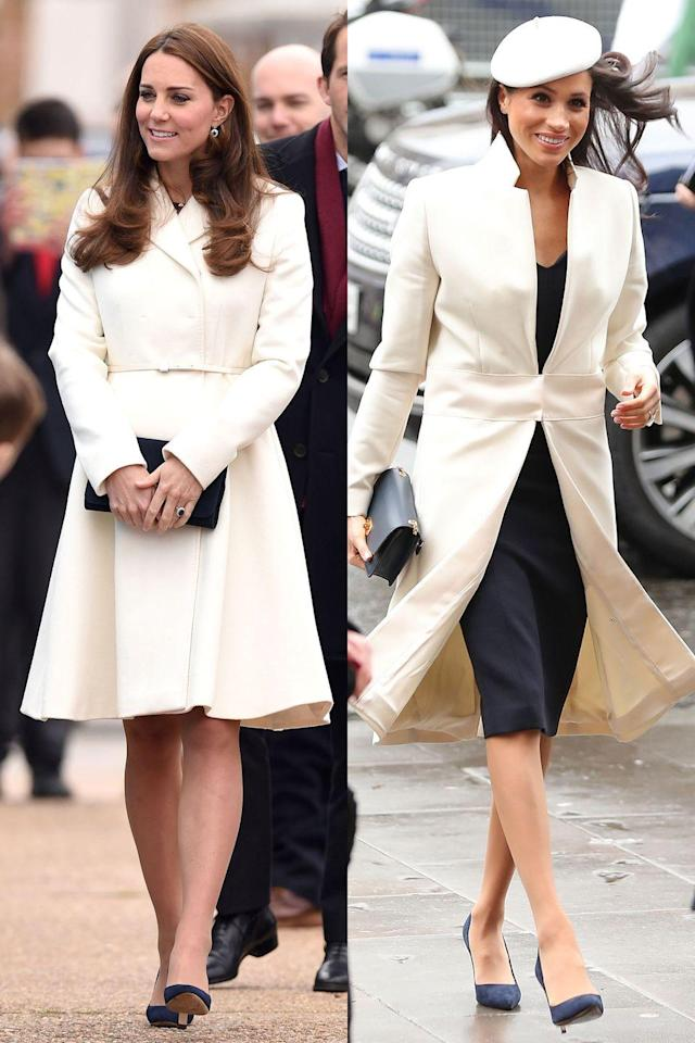 """<p>Winter whites are *a thing* for a reason, and Kate and Meghan both know how to rock a white coat. Kate's is Max Mara while <a href=""""https://www.cosmopolitan.com/style-beauty/fashion/a19408867/meghan-markle-white-beret/"""" rel=""""nofollow noopener"""" target=""""_blank"""" data-ylk=""""slk:Meghan"""" class=""""link rapid-noclick-resp"""">Meghan</a>'s is Amanda Wakeley, and although these pictures were taken three years apart, it looks like they have very similar taste in shoes, too. </p>"""