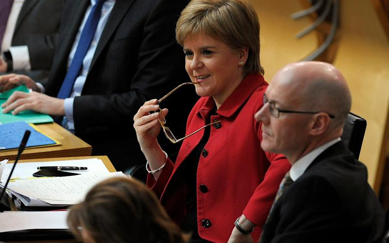 Scotland's First Minister Nicola Sturgeon reacts ahead of a vote on a second referendum on independence - Getty Images Europe