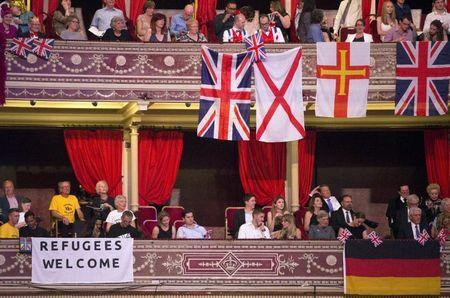 Flags are seen during the last night of the BBC Proms festival of classical music at the Royal Albert Hall in London, Britain September 12, 2015. REUTERS/Neil Hall
