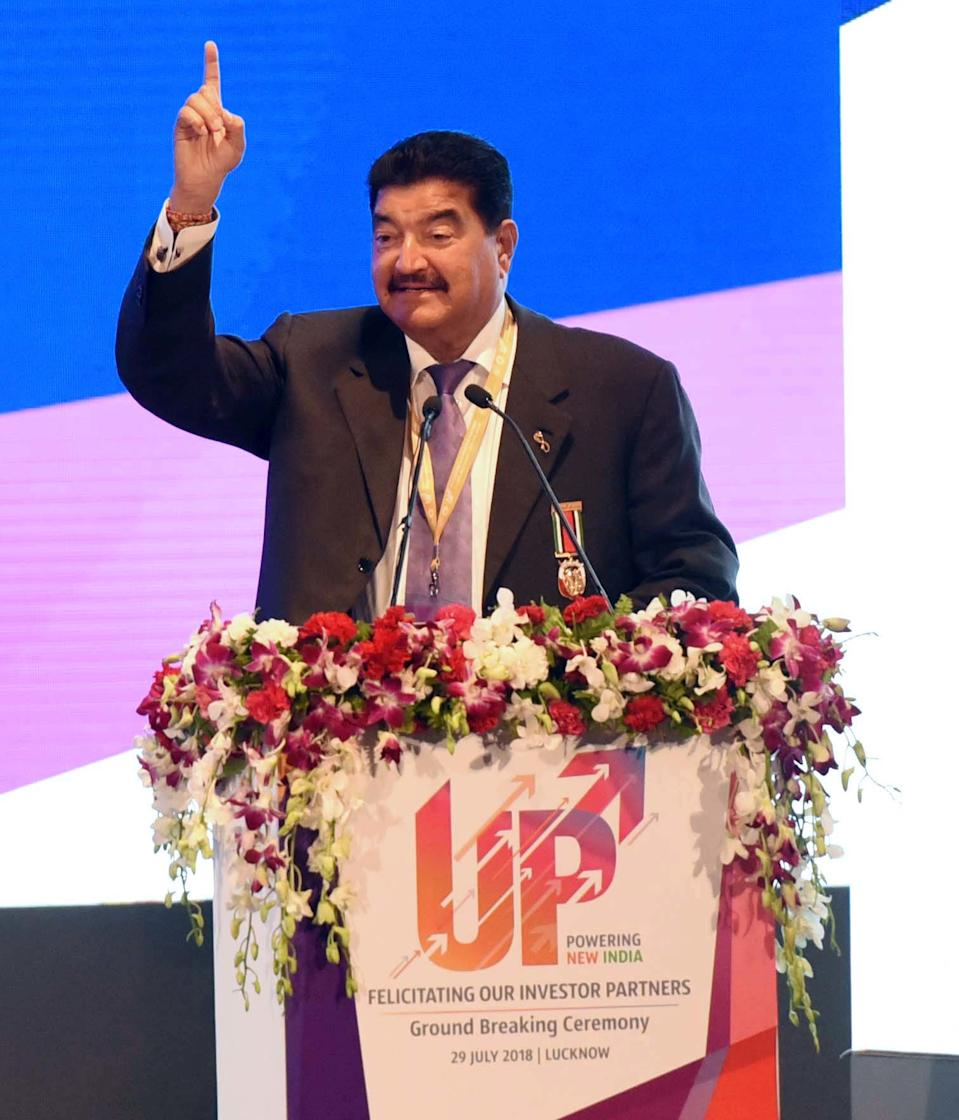 LUCKNOW, INDIA - JULY 29: BR Shetty CEO NMC Healthcare, UAE addressing ground-breaking ceremony for 81 project by Prime Minister Narendra Modi at Indira Gandhi Pratishthan on July 29, 2018 in Lucknow, India. These projects were part of the 1,045 MoUs signed at the Uttar Pradesh Investors' Summit organised earlier this year. (Photo by Subhankar Chakraborty/Hindustan Times/Sipa USA)