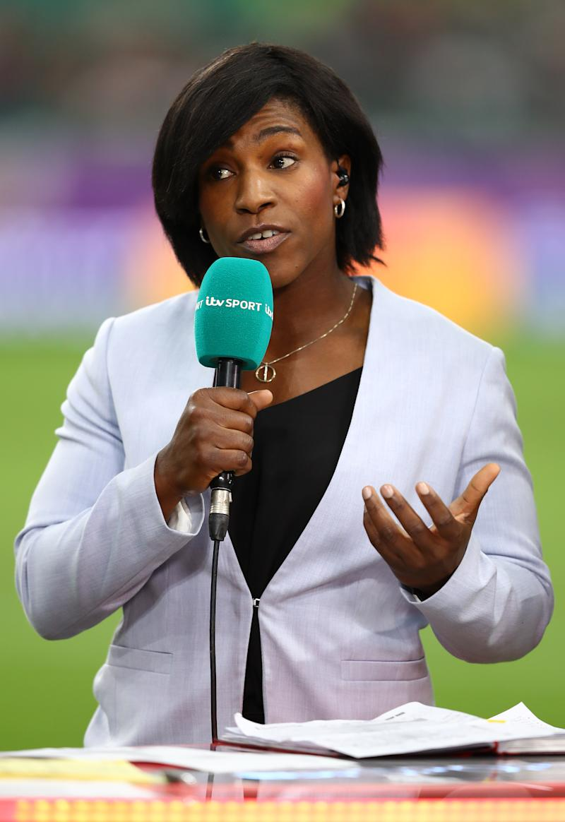 OITA, JAPAN - OCTOBER 20: ITV sport rugby presenter Maggie Alphonsi during the Rugby World Cup 2019 Quarter Final match between Wales and France at Oita Stadium on October 20, 2019 in Oita, Japan. (Photo by Michael Steele/Getty Images)