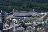 Yoyogi National Stadium, where handball will be held for Tokyo 2020 Olympics, is seen Saturday, July 10, 2021, in Tokyo. The Yoyogi National Stadium was the architectural jewel of the 1964 Tokyo Olympics. It's being used again for the current Tokyo Olympics and remains one of the most important buildings of the 20th century. (AP Photo/Kiichiro Sato)
