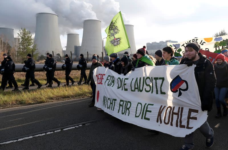 FILE PHOTO: Climate activists from Fridays for Future and Ende Gelaende protest in the Lausitz region