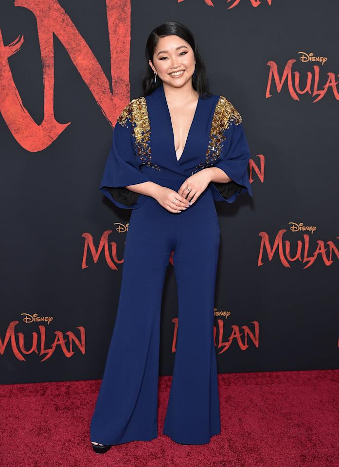 """<p>Lana also dressed to impress at the <strong>Mulan</strong> premiere, <a href=""""https://www.popsugar.com/fashion/lana-condor-navy-outfit-mulan-premiere-47295060"""" class=""""ga-track"""" data-ga-category=""""Related"""" data-ga-label=""""https://www.popsugar.com/fashion/lana-condor-navy-outfit-mulan-premiere-47295060"""" data-ga-action=""""In-Line Links"""">wearing a regal Antonio Berardi jumpsuit</a>.</p>"""