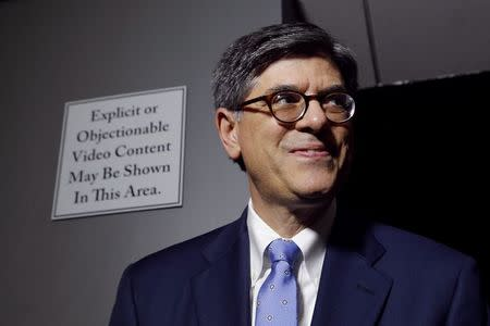 U.S. Treasury Secretary Jack Lew takes a question from a reporter during a cybersecurity-related tour of a Verizon network operations center at their facility in Ashburn, Virginia