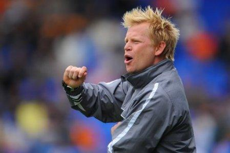 Hereford United manager Jamie Pitman gestures on the touchline