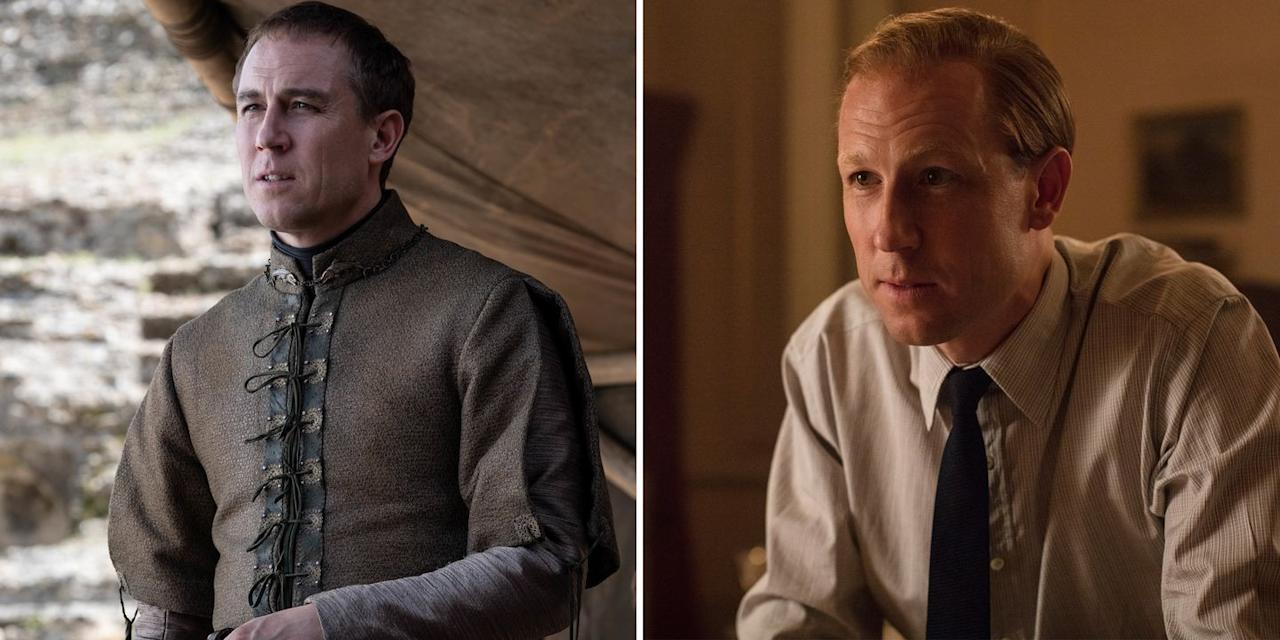 """<p><strong><em>Game of Thrones</em>:</strong> Edmure Tully, the Lord of Riverrun and brother to Catelyn Stark and Lysa Arryn. (He was unfortunately also the recipient of Sansa Stark's <a href=""""https://www.harpersbazaar.com/culture/film-tv/a27529114/game-of-thrones-sansa-uncle-edmure-tully-reactions/"""">""""Uncle, please sit""""</a> comment.) </p><p><strong><em>The Crown</em><em>,</em> Season 3:</strong> Prince Philip, the Duke of Edinburgh, husband to Queen Elizabeth II and father to Prince Charles, Princess Anne, Prince Andrew, and Prince Edward.</p><p><strong>You've also seen him as:</strong> Frank and Jonathan Randall in <em>Outlander</em><em>,</em> Villiers in <em>Casino Royale</em><em>,</em> and more.</p>"""
