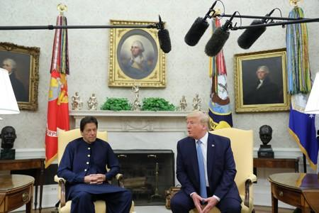 Pakistan's Prime Minister Khan meets with U.S. President Trump in the Oval Office of the White House in Washington