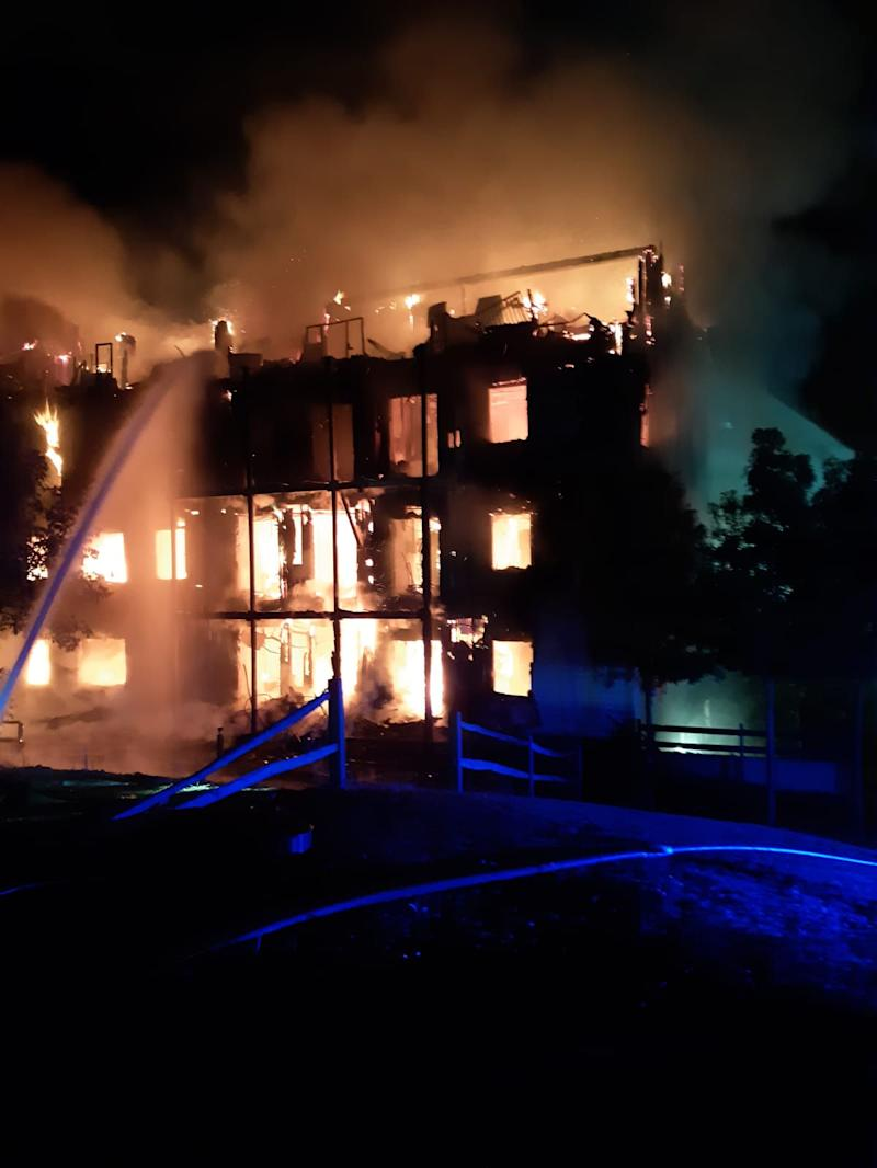 Handout photo taken from the Twitter feed of London Fire Brigade @LondonFire showing a four-storey block of flats engulfed in flames in Sherbrooke Way, Worcester Park, south-west London. A total of 20 fire engines and 125 firefighters were sent to the scene. PRESS ASSOCIATION Photo. Picture date: Monday September 9, 2019. See PA story FIRE WorcesterPark. Photo credit should read: London Fire Brigade/PA Wire