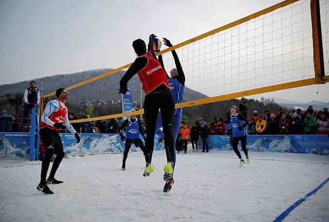 Pyeongchang 2018 Winter Olympics - Pyeongchang - South Korea – February 14, 2018. Stefanie Schwaiger of Austria spikes during an event promoting the Snow Volleyball hosted by the International Volleyball Federation (FIVB) and European Volleyball Confederation (CEV). REUTERS/Kim Hong-Ji
