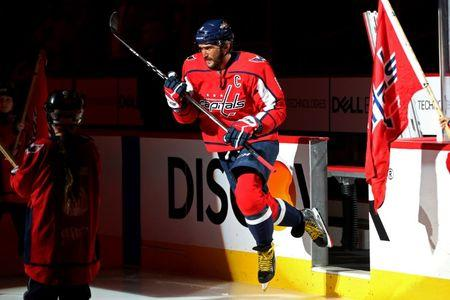 Apr 5, 2018; Washington, DC, USA; Washington Capitals left wing Alex Ovechkin (8) takes to the ice prior tp the Capitals' game against the Nashville Predators at Capital One Arena. The Predators won 4-3. Mandatory Credit: Geoff Burke-USA TODAY Sports