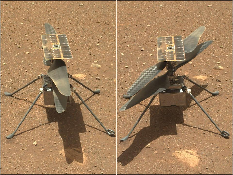 mars ingenuity helicopter rotor blades spin