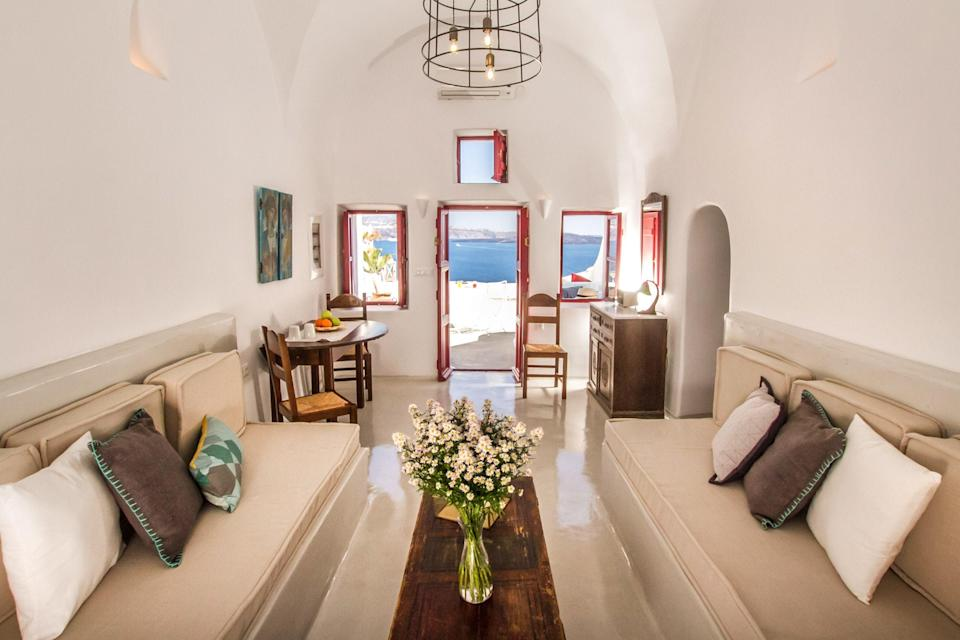 "<p>With over 133,869 saves, a cave house situated in Santorini comes in second place. Originally built as a wine cellar, the home is carved into the caldera cliff serving up incredible views of Oia. Oh, and just wait until you catch a glimpse of the pool… <strong><a href=""https://www.airbnb.co.uk/rooms/433392"" rel=""nofollow noopener"" target=""_blank"" data-ylk=""slk:Book now"" class=""link rapid-noclick-resp"">Book now</a></strong><em>. [Photo: Airbnb]</em> </p>"