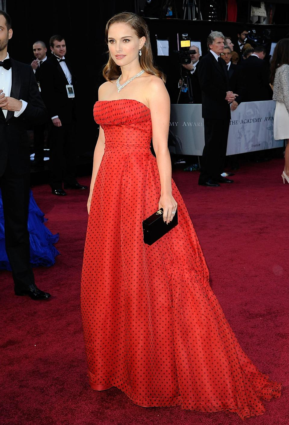 <p>The actress wore a strapless vintage gown by Christian Dior.</p>