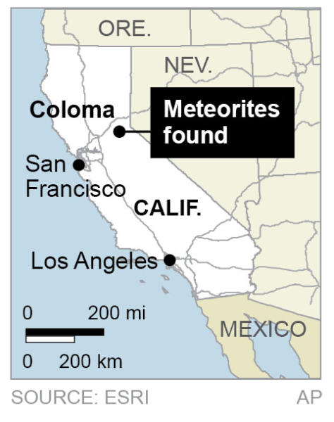 Map locates Coloma, California, where meteorites fell
