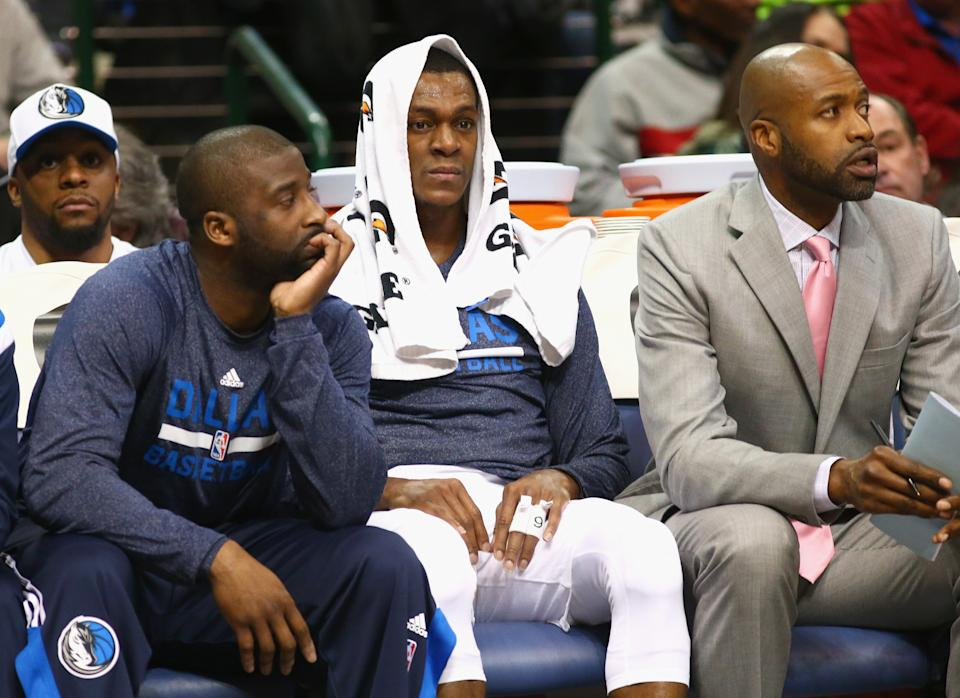 DALLAS, TX - FEBRUARY 24:  Rajon Rondo #9 of the Dallas Mavericks sits on the bench during play against the Toronto Raptors at American Airlines Center on February 24, 2015 in Dallas, Texas.  NOTE TO USER: User expressly acknowledges and agrees that, by downloading and or using this photograph, User is consenting to the terms and conditions of the Getty Images License Agreement.  (Photo by Ronald Martinez/Getty Images)