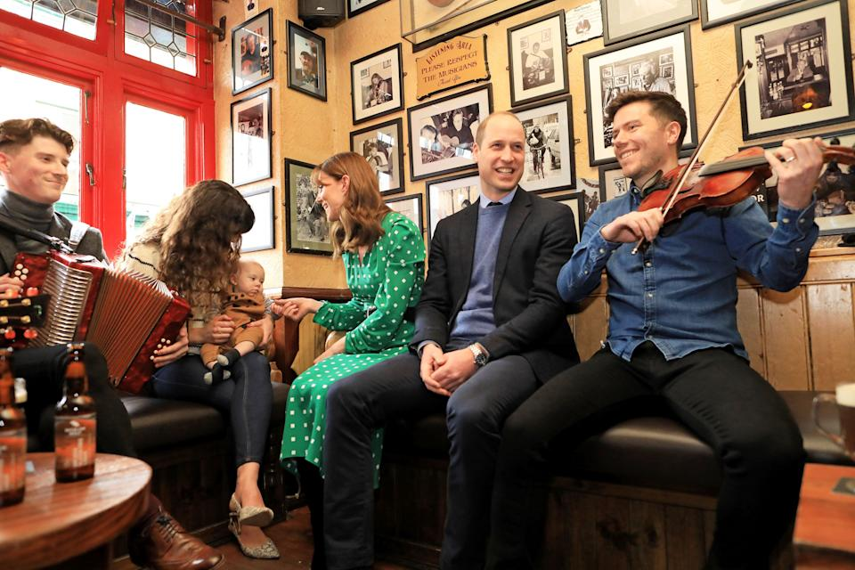 Department of Foreign Affairs and the British Embassy handout photo of the Duke and Duchess of Cambridge meet local Galwegians during a visit to a traditional Irish pub in Galway city centre during the third day of their visit to the Republic of Ireland.