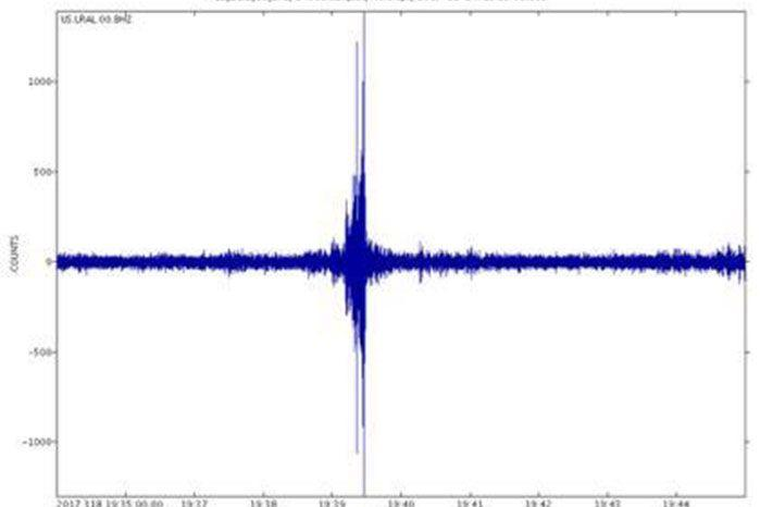A sound graph from the USGS Lakeview Retreat in Alabama shows a loud boom. Source: USGS