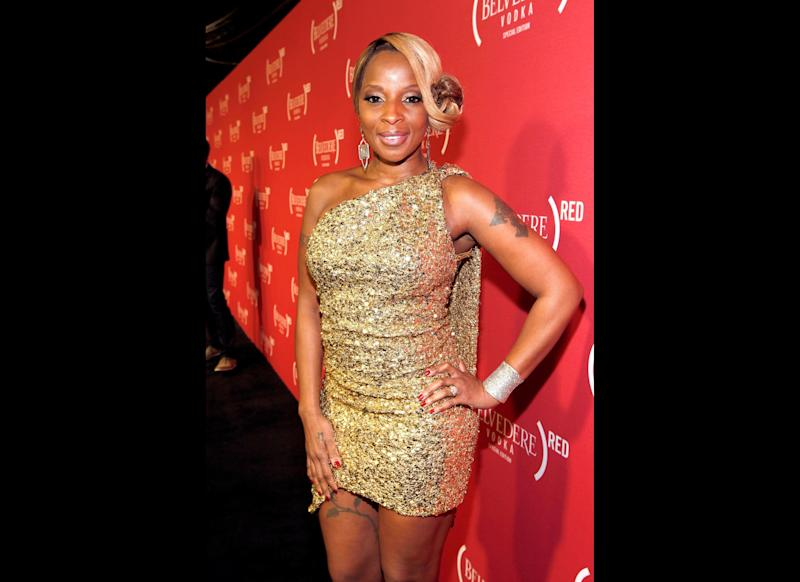 Singer Mary J. Blige arrives at the (Belvedere) RED Pre-Grammys Party with Mary J Blige held at Avalon on February 9, 2012 in Hollywood, California. (Christopher Polk, Getty Images)