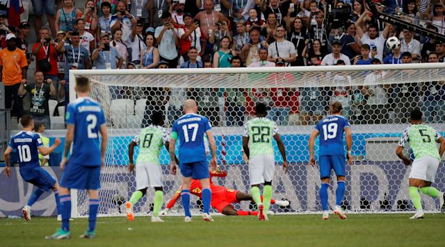 Soccer Football - World Cup - Group D - Nigeria vs Iceland - Volgograd Arena, Volgograd, Russia - June 22, 2018 Iceland's Gylfi Sigurdsson misses a chance to score from the penalty spot REUTERS/Toru Hanai TPX IMAGES OF THE DAY