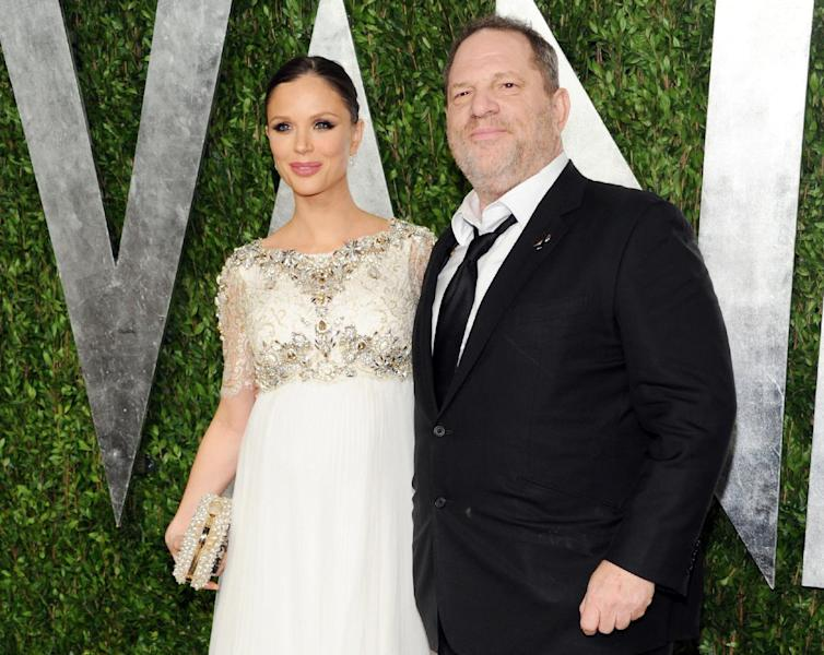 FILE - This Feb. 24, 2013 file photo shows designer Georgina Chapman, left, and her husband producer Harvey Weinstein at the 2013 Vanity Fair Oscars Viewing and After Party in West Hollywood, Calif. A spokeswoman for the 61-year-old chairman of the Weinstein Co. said Monday that Weinstein and his 37-year-old fashion designer wife welcomed a son Thursday, April 11, in New York. Weinstein and the Marchesa co-founder are already parents to a 2-year-old daughter. Weinstein also has three daughters from his previous marriage. Chapman and Weinstein married in 2007. (Photo by Evan Agostini/Invision/AP, file)