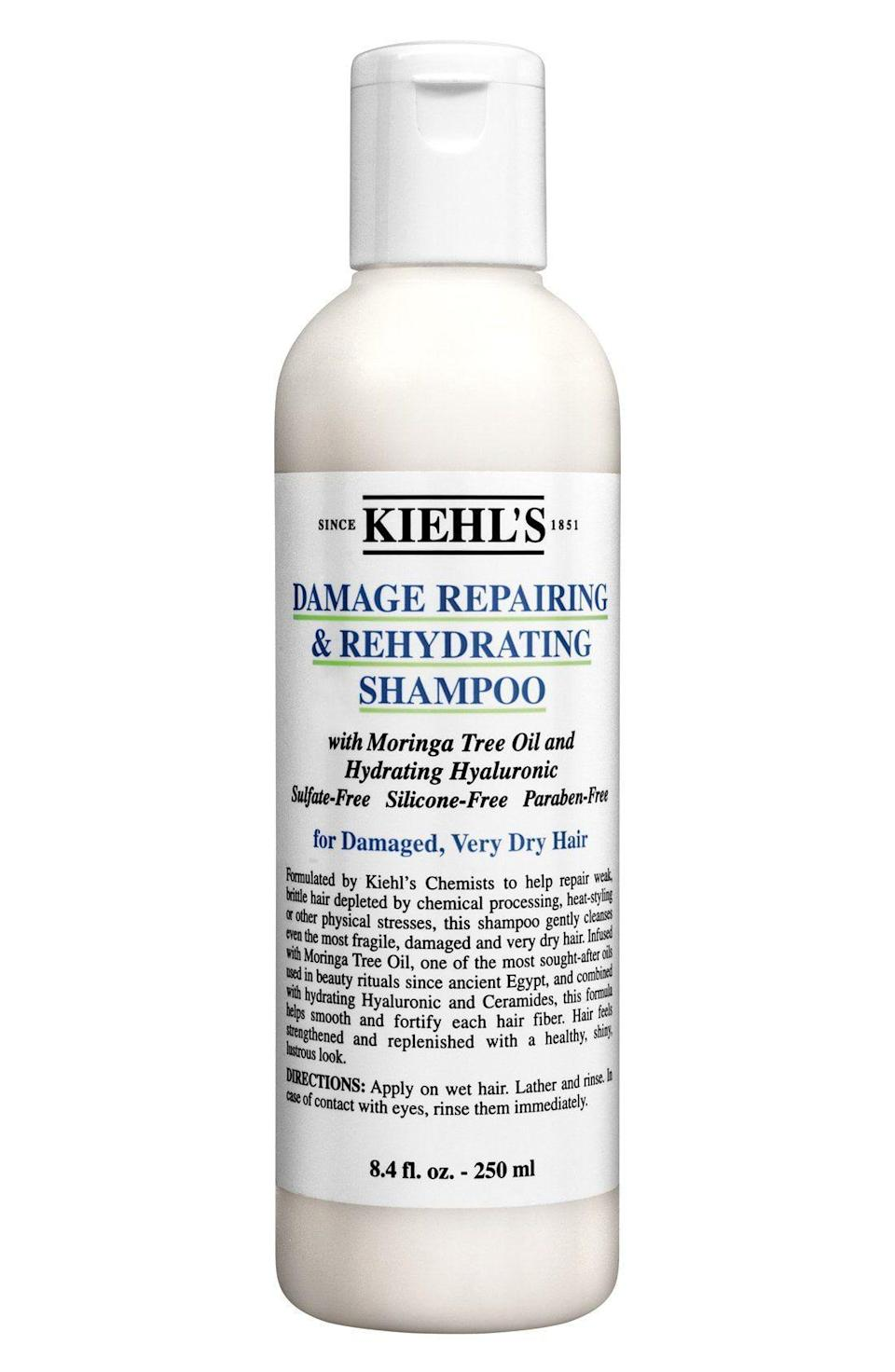 """<p><strong>Kiehl's</strong></p><p>kiehls.com</p><p><strong>$20.00</strong></p><p><a href=""""https://go.redirectingat.com?id=74968X1596630&url=https%3A%2F%2Fwww.kiehls.com%2Fhair%2Fshampoos%2Fdamage-repairing-and-rehydrating-shampoo%2F249.html&sref=https%3A%2F%2Fwww.harpersbazaar.com%2Fbeauty%2Fhair%2Fg24892831%2Fbest-sulfate-free-shampoos%2F"""" rel=""""nofollow noopener"""" target=""""_blank"""" data-ylk=""""slk:SHOP"""" class=""""link rapid-noclick-resp"""">SHOP</a></p><p>The moringa tree oil, hyaluronic acid, and ceramides found in this shampoo strengthens hair so that it can withstand treatments and styling that requires extreme heat. It's the perfect defense against hot tools that do a number on our hair.</p>"""